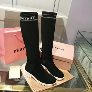 ミュウミュウ(miumiu)のmiumiu ミュウミュウ ロングブーツ (ブーツ)