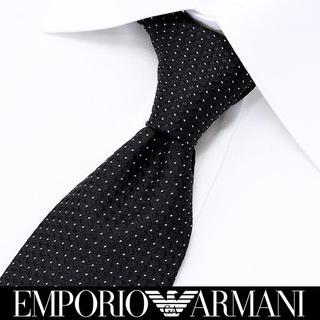エンポリオアルマーニ(Emporio Armani)の161 EMPORIO ARMANI  ブラック ドット柄 シルク ネクタイ(ネクタイ)
