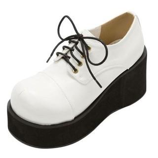 ユメテンボウ(夢展望)の新品・厚底レースアップおでこ靴・白・24(ローファー/革靴)