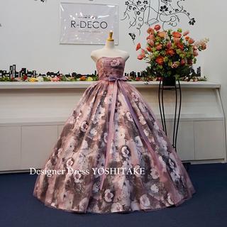 ウエディングドレス(パニエ無料) 渋ピンクチュール/水墨画風ドレス 披露宴/二次(ウェディングドレス)