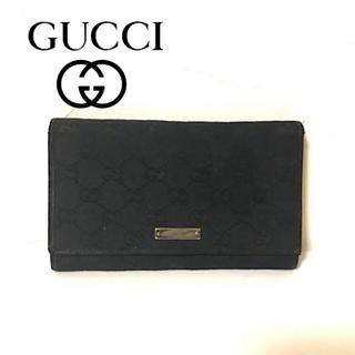 3f68ec5ec07c グッチ(Gucci)のGUCCI グッチ 長財布 gg柄 デニム生地 ブラック 黒 がま口