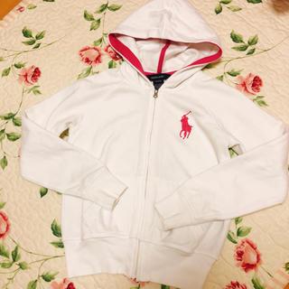 ラルフローレン(Ralph Lauren)のラルフローレン フード付きパーカー 白×ピンク(パーカー)