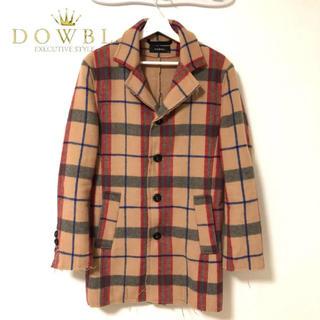 DOWBL ダブル カットオフ チェック チェスターコート コート メンズ