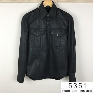 ゴーサンゴーイチプールオム(5351 POUR LES HOMMES)の美品 5351プールオム ジャケット ブラック光沢 サイズ1(ブルゾン)