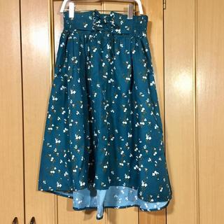 スズタン(suzutan)の新品タグ付 ウエスト編み上げ テールカット 小花柄スカート(ひざ丈スカート)