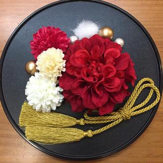 和装 髪飾り 10点セット(赤×白)(ヘアアクセサリー)