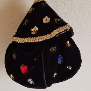 ロキエ(Lochie)のkitty購入 ベロア ビジュー 巾着 バッグ  vintage (ハンドバッグ)