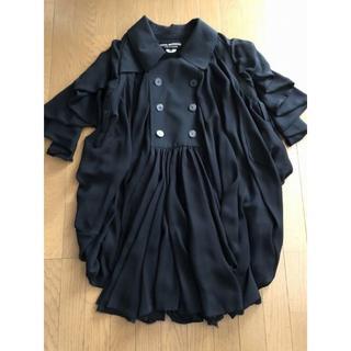 コムデギャルソン 超モードなピーコート ベルト付き ドレスコート ブラック