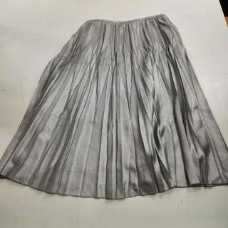 プリーツスカート シルバー(ひざ丈スカート)
