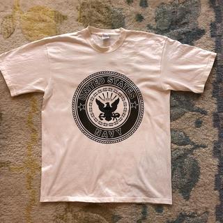 アメリカ軍 U.S.NAVY ホワイト ロングTシャツM新品 実物 ミリタリー(戦闘服)