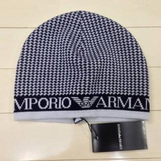 エンポリオアルマーニ(Emporio Armani)の[タグ付新品]エンポリオアルマーニ ハウンドトゥースニット帽(ニット帽/ビーニー)