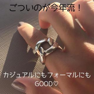 送料無料☆Silver925 インパクトチェーンのリング タイシルバー(リング(指輪))