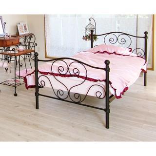 姫系ベッド シングル ブラック フレームのみ(シングルベッド)