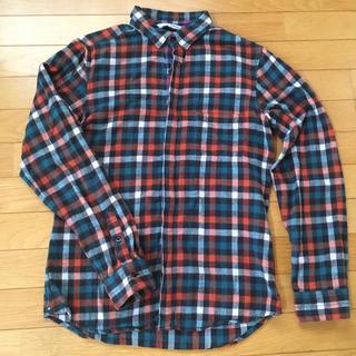 エービーエックス(abx)のabxオレンジ青基調のチェックネル地長袖シャツ M 美品(シャツ)