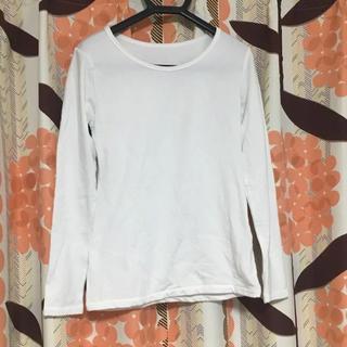 ジーユー(GU)のカットソー インナー ホワイト 裏起毛 レディース  ジーユー Uネック(Tシャツ(長袖/七分))