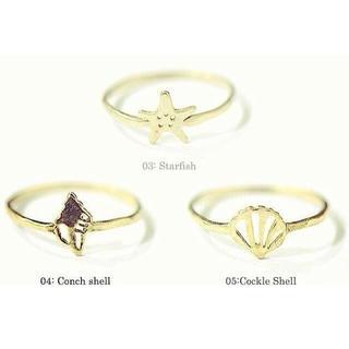 チビジュエルズ(Chibi Jewels)の3Pセット chibi jewels チビジュエルズ 貝殻モチーフ 真鍮 リング(リング(指輪))