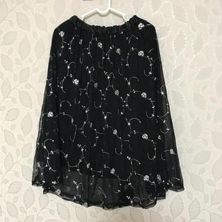 シマムラ(しまむら)のチュールスカート 黒 刺繍 花柄(ロングスカート)