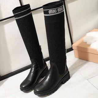 ミュウミュウ(miumiu)のmiumiu ミュウミュウ ロングブーツレディース › 靴/シューズ 38㎝(ブーツ)