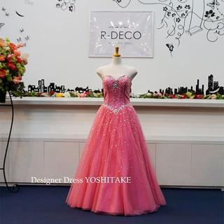 カラードレス ピンクチュール&シルバービーズ パーティードレス/演奏会ドレス(ウェディングドレス)
