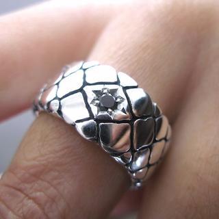 仁尾彫金『一つ星ブラックダイヤ平打パイソンリング』ハンドメイド102(リング(指輪))