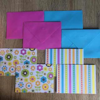 Hallmark ピンク封筒 ブルー封筒 カード2種類 各×2 レターセット(カード/レター/ラッピング)