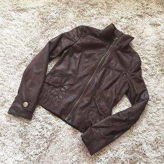 キューハート ライダースジャケット 茶色ブラウン Qハート