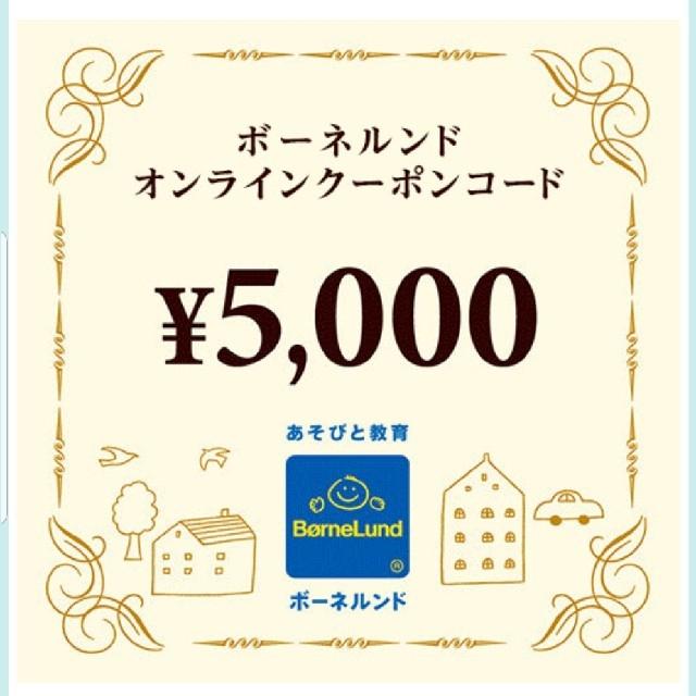 BorneLund(ボーネルンド)のボーネルンド オンラインクーポン 5000円分 チケットの優待券/割引券(ショッピング)の商品写真