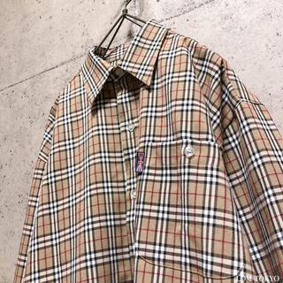 [used]brown beige plaid shirt.(シャツ)