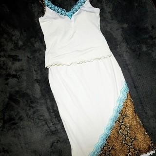 ギャルズビル(GALSVILLE)のGALSVILLE♡パイソン柄 キャミソールとスカート 2点セット(ミディアムドレス)