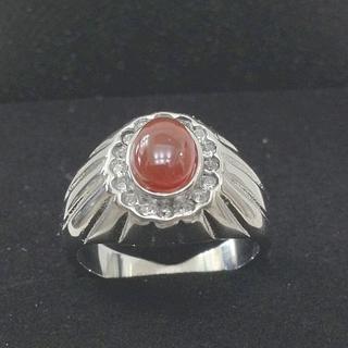 新品]サージカルステンレス316L赤ストーンCZ指輪リング US9 19号(リング(指輪))