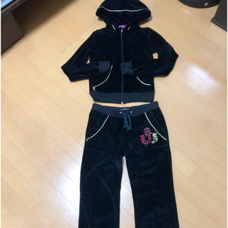ジューシークチュール(Juicy Couture)のジューシークチュール 黒セットアップ パーカー ベロア系 Sサイズ(ルームウェア)