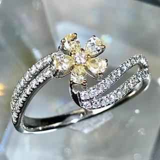 ダイヤモンド イエローダイヤモンド プラチナ k18 ダイヤモンドリング(リング(指輪))