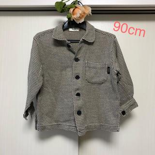 しっかり生地&濃い茶系の襟付きシャツ90サイズ