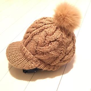 バーニーズニューヨーク(BARNEYS NEW YORK)の美品✧*バーニーズニューヨーク フォックスファー付ニット帽(ニット帽/ビーニー)