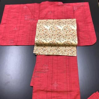 赤系ウールの着物。(帯は別売り)(着物)