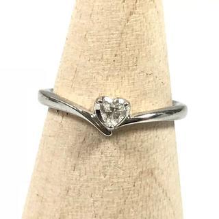 ヨンドシー(4℃)の美品 4℃ ハート 1粒 ダイヤ プラチナ リング 6号 指輪 OC50(リング(指輪))