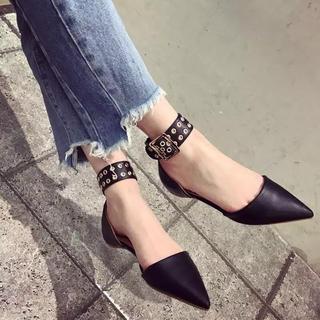スタッズ キラキラ ペッタン パンプス ミュール 革靴 オペラ靴 インポート(ローファー/革靴)