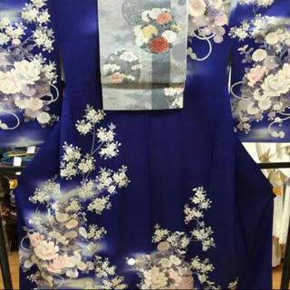 ミツコシ(三越)の華やか青の訪問着 帯もセット(着物)