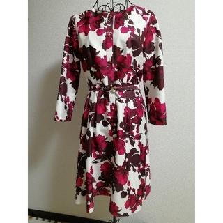 イランイラン(YLANG YLANG)のイランイラン ワンピース ドレス フラワー 花柄 フレアー 赤 ピンク 茶色(ひざ丈ワンピース)
