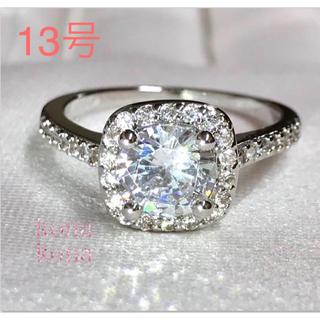 13号.シルバー.スクエア.パヴェ.指輪.高級AAA CZ大粒ダイヤモンドリング(リング(指輪))
