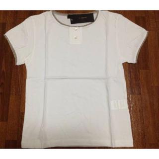 ティヤマイパリ(t.yamai paris)の★t.yamai★ボタン付き ラメ半袖Tシャツ/トップス 1 ホワイト(Tシャツ(半袖/袖なし))