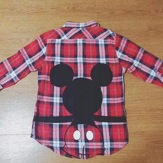 ディズニー(Disney)の【新品未使用】ミッキー チェックシャツ 七分袖(シャツ)