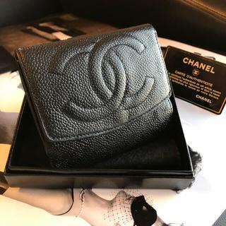 シャネル(CHANEL)の❤︎CHANEL❤︎ 美品 Wホック シャネル キャビアスキン Gカード付(財布)