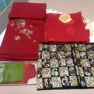 着物振り袖 帯 ワンセット 赤 まり柄 成人式に! 新品同様美品!(着物)