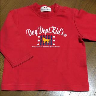 キッズ 95 赤 犬ポイント 長袖Tシャツ