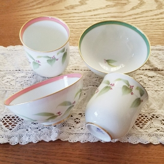 香蘭社 紫式部 睦膳 湯呑み お茶碗 ペアセット 新品