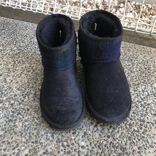 シマムラ(しまむら)のしまむら×ハリスツイード  ムートンブーツ ブラック 21cm(ブーツ)