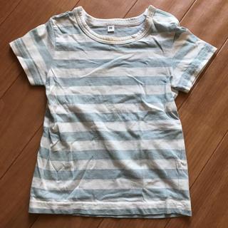 ムジルシリョウヒン(MUJI (無印良品))の無印良品 90 半袖Tシャツ 水色と白ボーダー(Tシャツ/カットソー)