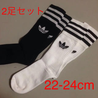 アディダス(adidas)のアディダスオリジナルス ソリッドクルーソックス 白・黒各一足ずつ【合計二足】(ソックス)
