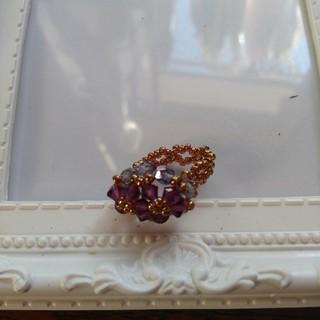 ビーズリング紫系手作り(リング(指輪))